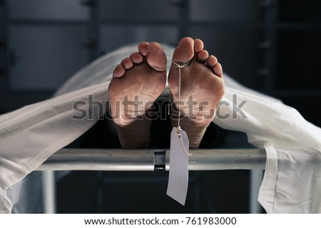 A scene in the hospital morgue where corpses are taken after death Royalty-Free Stock Photo #761983000