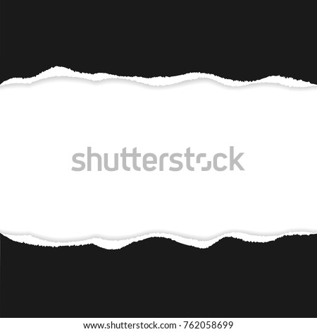 Black ripped paper vector with copy space.  #762058699