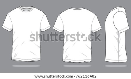 Blank White T-Shirt Vector For Template.Front, Back And Side Views.