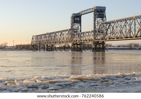 Railway and automobile bridge across the river Northern Dvina. Russia, Arkhangelsk #762240586