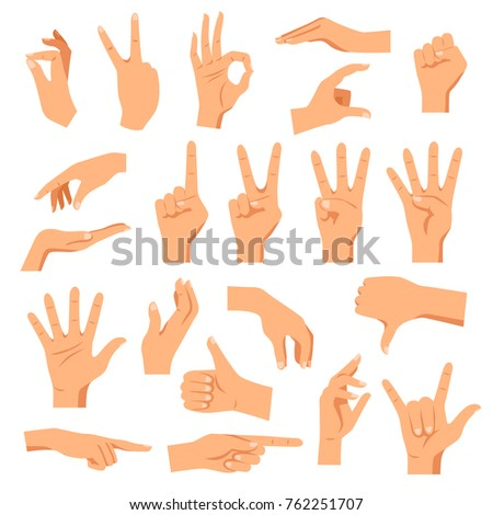 Set of hands in different gestures emotions and signs on white background isolated  illustration