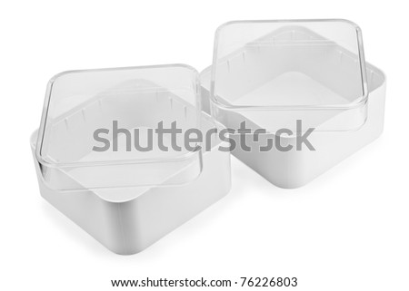 Small white plastic  boxes isolated on white with patch #76226803