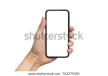 Man's hand shows mobile smartphone with white screen in vertical position isolated on white background. Mock up mobile