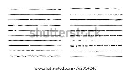 Set of artistic pen brushes. Hand drawn grunge strokes. Vector illustration