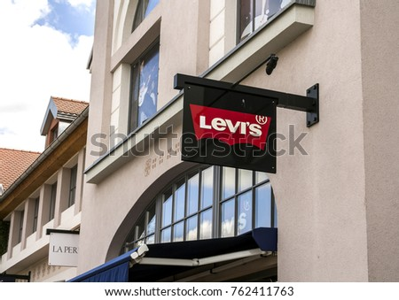 Ingolstadt, Germany, August 19, 2017: Levi's outlet store, Ingolstadt. Founded in 1853, Levi Strauss is an American clothing company known worldwide for its brand of denim jeans #762411763