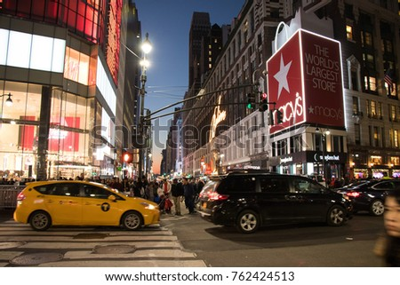 New York, NY / United States - 11/24/2017 : Crowded Street on 34th street for Thanksgiving shopping, Manhattan. #762424513