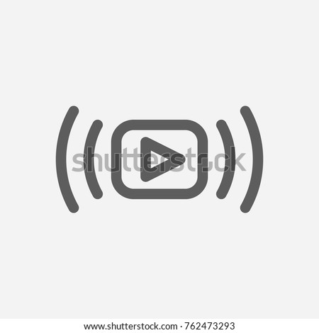 Video stream icon line. Isolated symbol on online education topic with video stream icon, live streaming and media meaning vector illustration. Royalty-Free Stock Photo #762473293