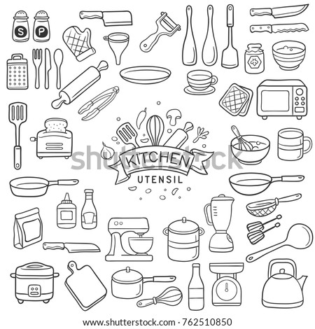 Set of doodle kitchen utensil outline in black isolated over white background Royalty-Free Stock Photo #762510850