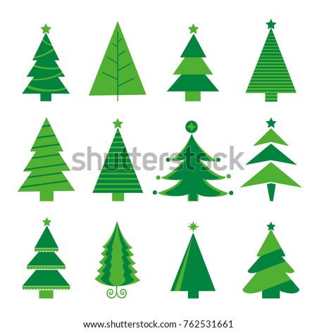 Tree Merry Christmas Icon Isolated Vector #762531661