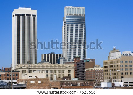 Omaha, Nebraska - downtown under blue sky.