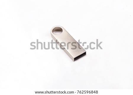 Silver usb flash drive, flash card isolated on white background  #762596848