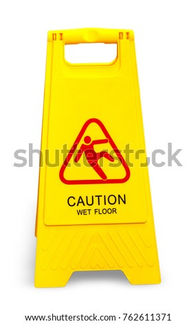 Caution wet floor sign isolated on white
