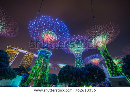 Singapore - November 19, 2017: Supertree Grove Show, Singapore Supertrees Illuminated at night in Garden by The Bay #762613336
