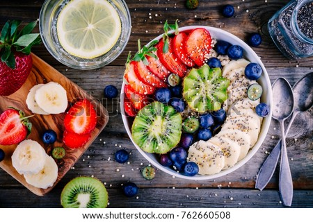 Healthy breakfast bowl: oatmeal with banana, kiwi, strawberry, blueberries and chia seeds #762660508