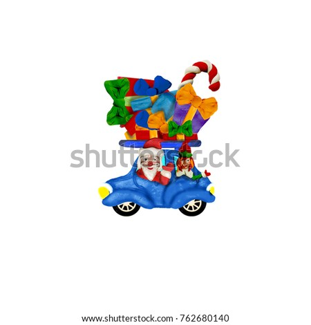 Santa and elf driving a car wirh Christmas gifts plasticine sculpture isolated cartoon