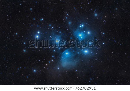 M45 - the Pleiades, Seven Sisters,  Deep Sky Astrophoto, Science. the plejades M45 open star cluster in the constellation of taurus. Royalty-Free Stock Photo #762702931