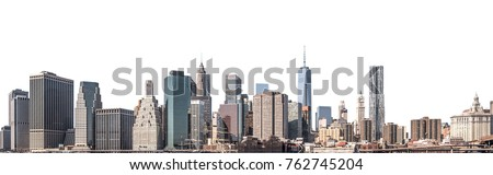 One World Trade Center and skyscraper, high-rise building in Lower Manhattan, New York City, isolated white background with clipping path #762745204