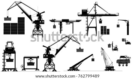 Harbor cargo cranes set. Shipping port equipment. Vector, isolated on white. Black and white silhouettes Royalty-Free Stock Photo #762799489