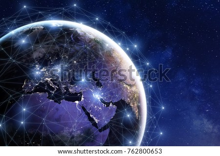 Communication network around Earth used for worldwide international connections for finance, banking, internet, IoT and cryptocurrencies, fintech concept, composition with planet image from NASA Royalty-Free Stock Photo #762800653