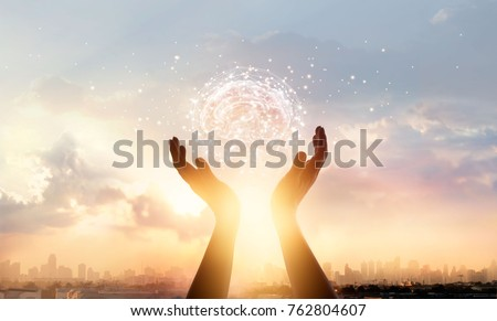Abstract palm hands touching brain with network connections, innovative technology in science and communication concept  #762804607