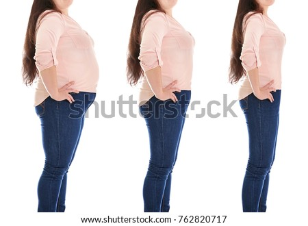 Overweight woman before and after weight loss on white background #762820717