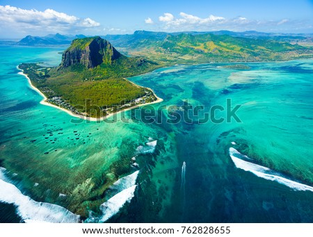 Aerial view of Mauritius island panorama and famous  Le Morne Brabant mountain, beautiful blue lagoon and underwater waterfall #762828655