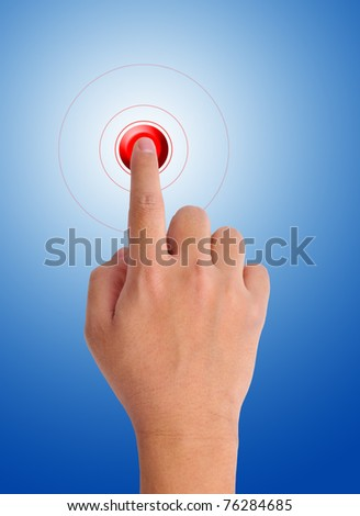 hand pushing a red button on a blue background #76284685