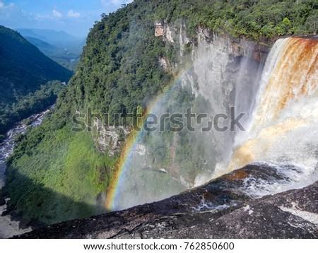 Rainbow over Kaieteur fall Guyana, South America.