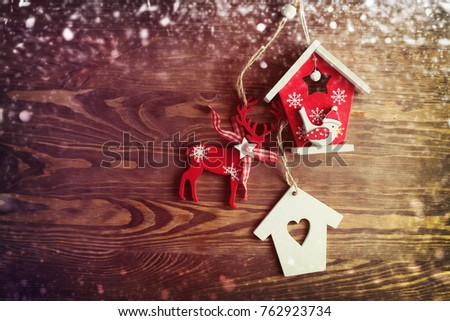 Christmas Ornaments Decorated on Wooden Background  #762923734