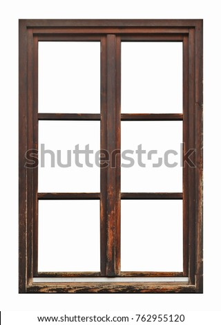 Old brown wooden window on white background #762955120
