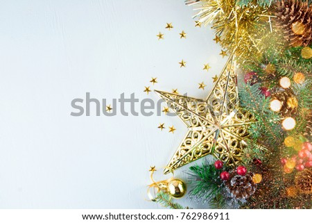 Christmas decoration. Christmas decoration background; Christmas tree and holidays ornament #762986911