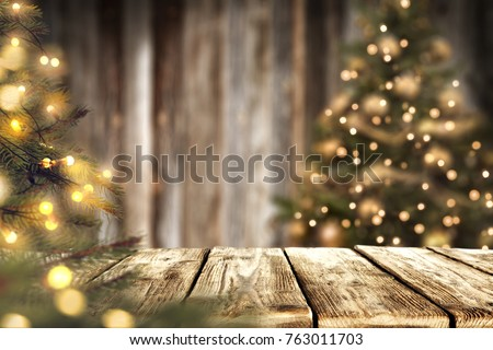 Christmas time and desk of free space