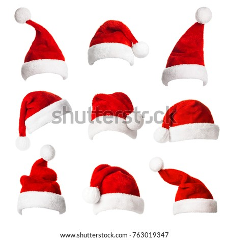 Collage with different shapes of Santa Claus helper hat isolated on white background. Christmas and New Year celebration. Royalty-Free Stock Photo #763019347