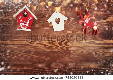 Christmas Ornaments Decorated on Wooden Background  #763020358