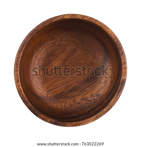 Empty wooden bowl isolated on white background with clipping path. Top view Royalty-Free Stock Photo #763022269