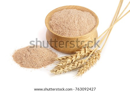 Pile of wheat bran in wooden bowl with ears isolated on white background #763092427