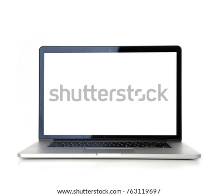 New laptop display with keyboard with blank screen isolated on a white background Royalty-Free Stock Photo #763119697