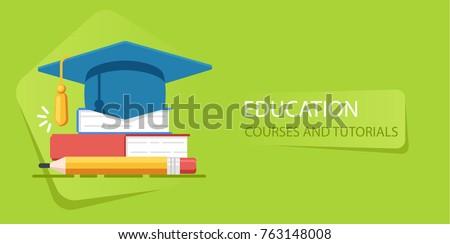 Academy hat, heap of books, university education, study of school flat vector illustration Royalty-Free Stock Photo #763148008