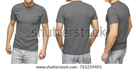 Young male in blank gray t-shirt, front and back view, isolated white background with clipping path. Design men tshirt template and mockup for print #763234405