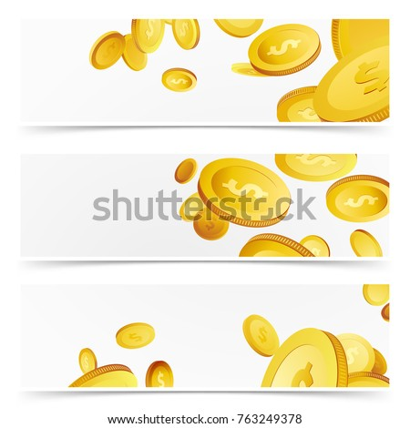 Financial agent flyer cards - money profits. Flying realistic 3D prize coins rain over white background banner collection. Lottery Cash. Casino prize. Vector illustration #763249378