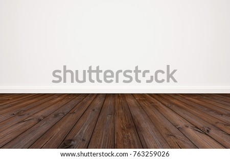 Dark wood floor with white wall background #763259026