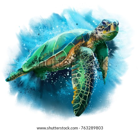 Big sea turtle watercolor painting