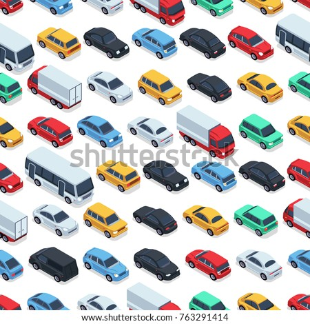Urban cars seamless texture. Vector background. Isometric cars. Seamless pattern color car illustration Royalty-Free Stock Photo #763291414