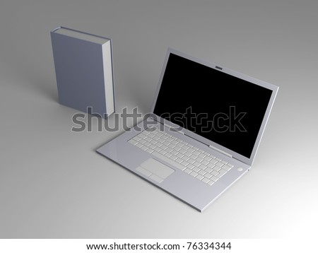 A Laptop with books. 3D rendered illustration. #76334344