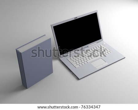 A Laptop with books. 3D rendered illustration. #76334347