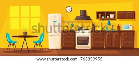 Kitchen interior with furniture. Cartoon vector illustration Royalty-Free Stock Photo #763359955