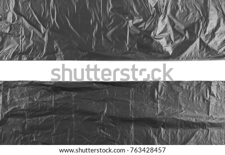 Black plastic garbage bag, isolated on white background, top view #763428457