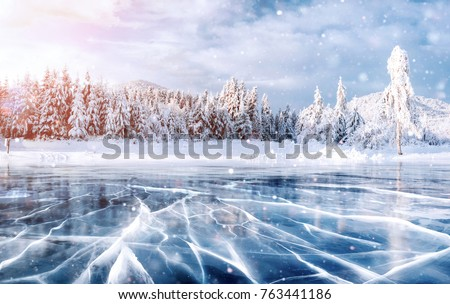 Cracks on the surface of the blue ice. Frozen lake in winter mountains. It is snowing. The hills of pines. Carpathian Ukraine Europe. Royalty-Free Stock Photo #763441186