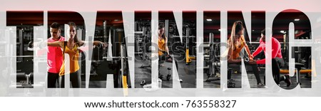 Collage training fitness, letters over the collage. Royalty-Free Stock Photo #763558327