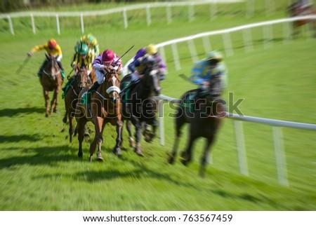 horse race motion blur Galloping  speeding effect #763567459